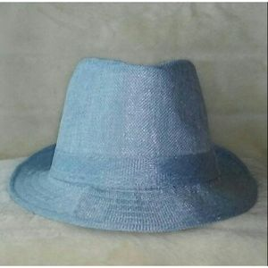 Baby Blue Straw Fedora Hat